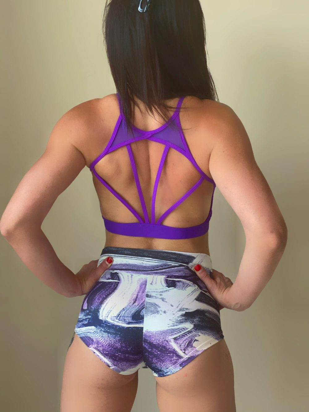 purple printed pole dance shorts